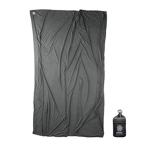 Bahidora Coolmax Reisedecke. 200x150cm. Ultraleichte Decke - ideal für Reisen. Geringes Packmaß, weich und atmungsaktiv (Grau)