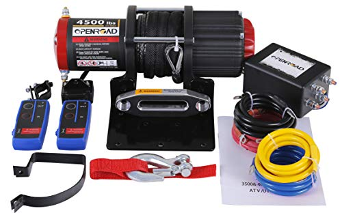 OPENROAD 12V 4500lb ATV Winch UTV Winch Electric Winch Set for 4x4 Off Road (4500lb Winch with Synthetic Rope) Matte Black Winch