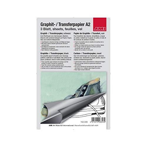 A-152309 - grafiet - transfer - papier A2, 3 vellen, grafiet-papier, zwart