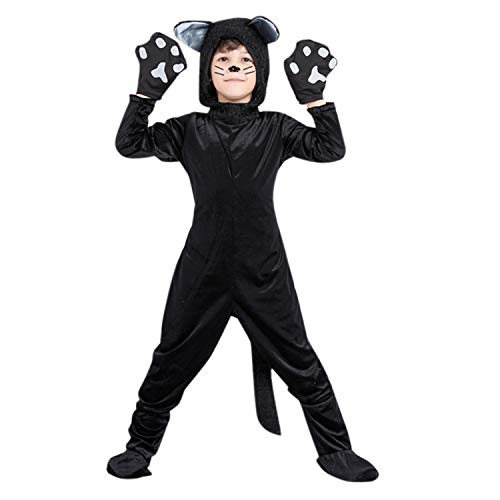 YASSON Kinder Katzenkostüm Jungen Mädchen Tier Kostüm Cartoon Jumpsuit Halloween Strampelanzug Karneval Overall