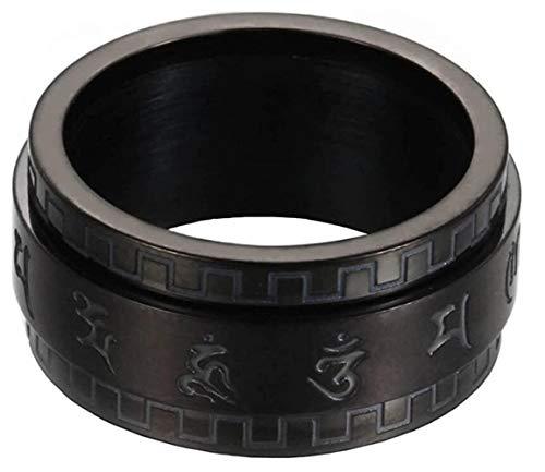 PAURO Herren Edelstahl Buddhismus tibetischen Mantra Spinner Ring 10mm Wide Band Jahrgang Om Mani Padme Hum Gebet Schmuck schwarz Größe 52