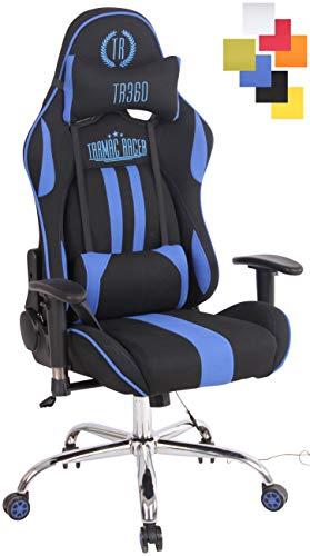 CLP bureaustoel met massage en verwarming, Limit XM, van stof, racingstoel, bureau, rugleuning verstelbaar, relaxstoel Zwart/Blauw