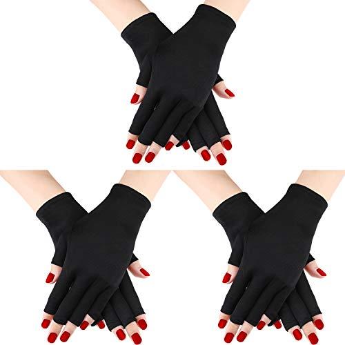 3 Paires Gant de Protection UV Gant de Manucure en Gel Gants Anti UV sans Doigts Protégez Vos Mains des Lampe à Rayons UV Séchoir à Manucure (Color Set 1/ Ensemble de couleurs 1)