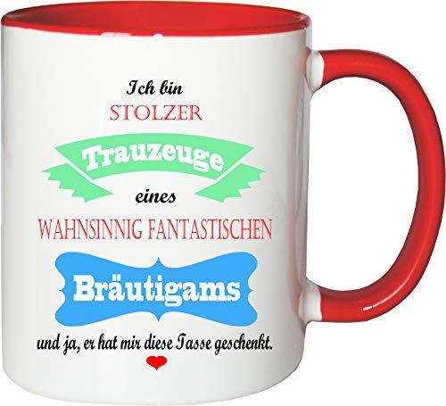 Mister Merchandise Becher Tasse Stolzer Trauzeuge eines wahnsinnig fantastischen Bräutigams - Er hat Mir die Tasse geschenkt Kaffeetasse Bedruckt Kaffeebecher Geburtstagsgeschenk Weiß-Rot