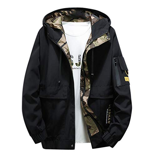 Deelin heren-capuchon-sweatshirt, modieus, gevoerd, camouflagepatroon, winddicht, outdoor, oversize, ritssluiting, baseballjack, sport, bomberjack, heren, grote maat