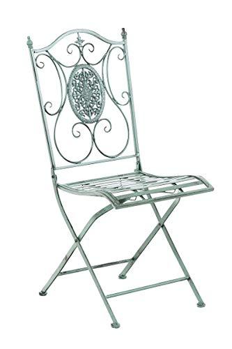 CLP Eisen-Gartenstuhl SIBELL I Klappbarer Gartenstuhl mit edlen Verzierungen I erhältlich, Farbe:antik-grün