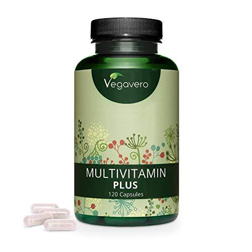 Multivitaminas Vegano Vegavero® | Natural | EL ÚNICO SIN ADITIVOS | 12 Vitaminas + 5 Minerales | Para Hombre y Mujer | 120 Cápsulas | Vitaminas para el Cansancio + Sistema Inmunológico + Energía