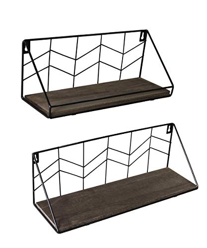 Afuly Wall Floating Shelves Industrial Rustic Metal Wood Shelf for Living Room Kitchen Bathroom Home Decor,2Pack