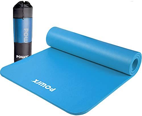 POWRX Tappetino Fitness Antiscivolo 190 x 100 x 1,5 cm - Ideale per Yoga, Pilates e Ginnastica - Extra Morbido e Spesso - Ecocompatibile con Tracolla e Sacca Trasporto + Poster (Celeste)
