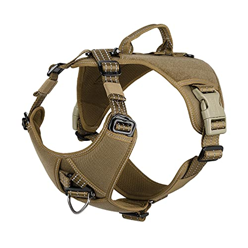 """ICEFANG GN8 Quick Moving Tactical Dog Harness with Handle ,Reflective Pet Vest,No-Pull Front Lead ,5-Points Adjust , Hook and Loop Panel for Patch (L (Neck 18""""-24""""; Chest 28""""-35""""), Coyote Brown)"""