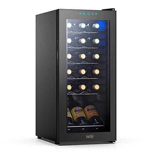 WIE Cantinetta Vino, 18 Bottiglie Mini Frigo Bar Frigorifero per Vini e Bevande, Temperatura digitale del tocco di 5-18 ° C, Illuminazione interna a LED, Nero