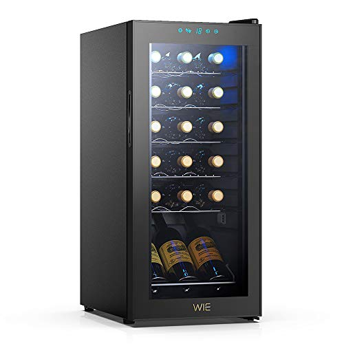 WIE 18 Bottle Wine Refrigerator Compressor System, Red and White Wine Fridge Freestanding Refrigerator Cellar Digital Temperature Display Auto-Defrost...