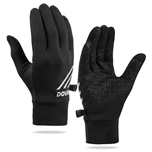 DOVAVA Handschuhe Herren Touchscreen, Fahrradhandschuhe Winter, Winterhandschuhe Sport Warm in Schwarz mit Anti-Rutsch (Schwarz, M)