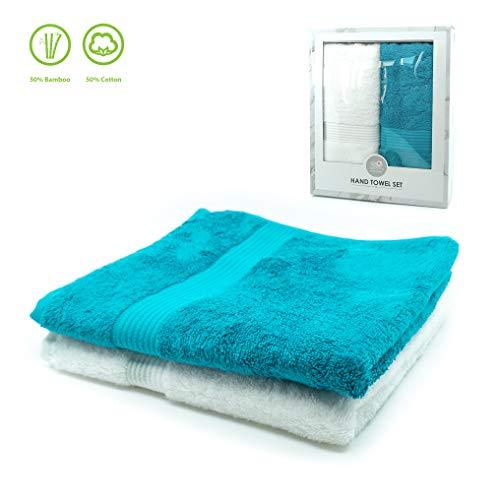 TopSpirit Premium Set van 2 gastenhanddoeken in wit/petrol - nieuwe vezelmix van bamboe en katoen - 50 x100 cm - 500 g/m2 - badstof handdoeken in luxe geschenkdoos