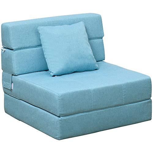 HOMCOM Schlafsessel Schlafsofa Sofabett Einzelsofa mit Waschbarem Kissen Blau 70cm x 70cm x 61cm