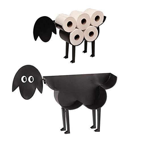 XeinGanpre Toilettenpapierhalter aus schwarzem Metall auf Füßen, Toilettenpapierhalter, innovativ, in Form von Schaf/Kätzchen/Hund (Schaf)