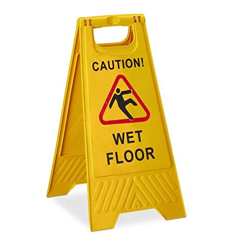 Relaxdays Achtung Rutschgefahr Aufsteller, Englisch, Warnschild Caution Wet Floor, 2-seitig beschriftet, klappbar, gelb, 1 Stück