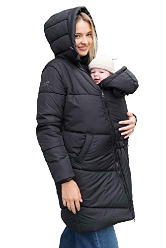 Love & Carry 3-in-1 Winter-Babytragemantel, Umstandsmantel, Tragejacke Onyx Gr. L (40)