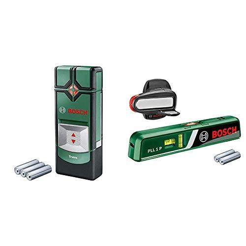 Bosch Ortungsgerät Truvo (Erfassungstiefe Stahl/Kupfer/stromführende Leitungen max. 70/60/50 mm) & Bosch Laser-Wasserwaage PLL 1 P (Arbeitsbereich Linienlaser 5 m, Arbeitsbereich Punktlaser 20 m)