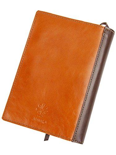 [アルベロ] ブックカバー 本革 リヨン 4362 オレンジ×チョコ 文庫本サイズ AL-4362-40