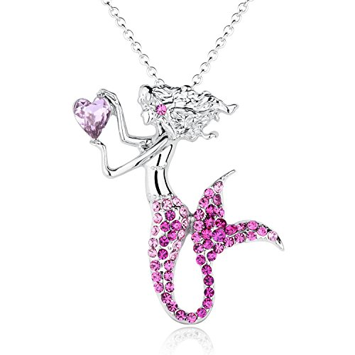 Fashion Mermaid Birthstone Necklace Jewelry White Gold Plated Austrian Crystal Magic Pendant Gift (Pink)