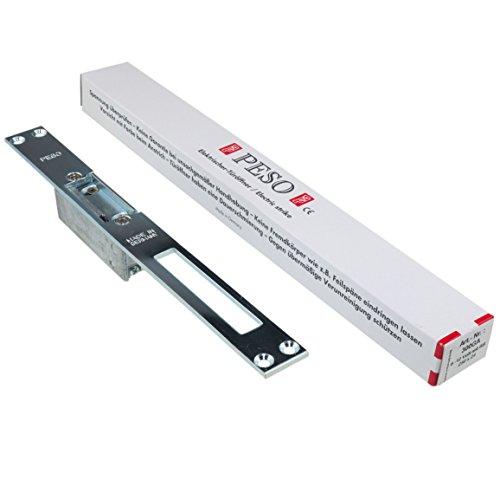 Elektrischer Türöffner PESO 300 GA mit Flachschließblech und Entriegelungshebel, 6 bis 12 Volt AC/DC