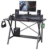 Mesa de gaming, Sedeta Gaming Escritorio 118 x 60 cm, mesa gamer, escritorio para juegos, mesa de ordenador, mesa de ordenador con soporte para bebidas, conector para auriculares, escritorio negro
