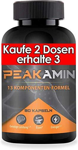 Hearebrook® PEAKAMIN - 90 Konzentrations-Tabletten¹ mit natürlichem Koffein aus Guarana - Brain Booster¹ für die geistige Leistung⁴ beim Lernen, Arbeiten und Spielen - Das Nootropic aus Deutschland