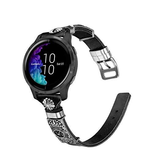 Abanen Leather Band for Samsung Galaxy Watch Active 2 40mm/44mm, 20mm Genuine Leather with Metal Decorative Retro Totem Wristband Strap for Garmin Vivoactive 3/Vivomove 3,Garmin Venu (Black)