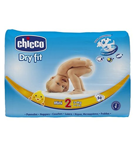Chicco Dry Fit-Pannolini, taglia 2 Mini 3_6kg 6_5896,70 13lbs) (1 g-Pannolini, confezione da 50