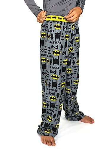 DC Comics Batman Boy's Flannel Pajama Pants (Large / 10-12, Grey)