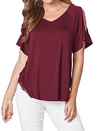 YOINS Blusa de mujer de manga corta con hombros descubiertos, camiseta de verano, cuello redondo, monocolor A vino tinto. XXL