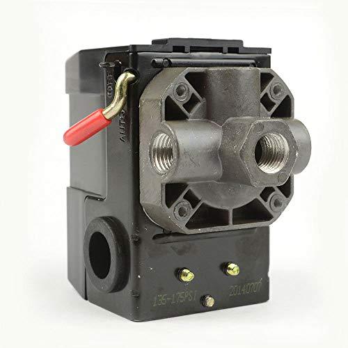 Interstate Pneumatics LF10-4H-HP Pressure Switch - 1/4 inch FPT Four Port - Bend Lever Swicth 135-175 PSI fits Dewalt Hitachi Emglo Makita Porter Cable Ridgid Rolair air compressors