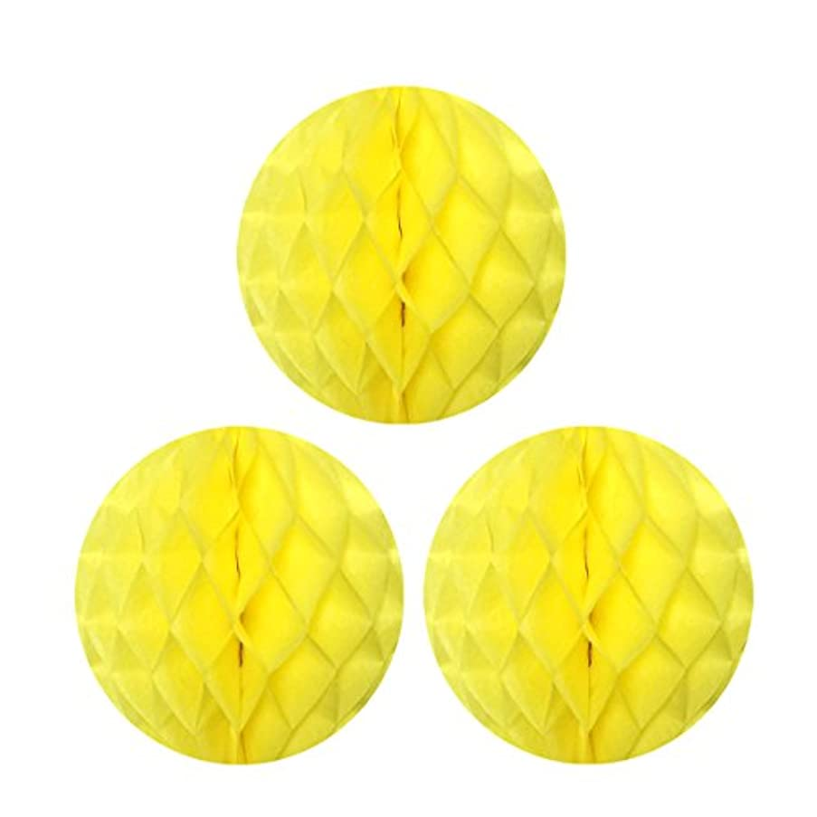 Allydrew Hanging Party Decoration, 10 Inch Tissue Honeycomb Ball for Weddings, Birthday Parties, Baby Showers, and Nursery Décor (3 pack), Yellow