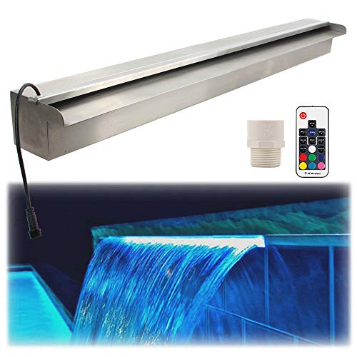 APONUO 35.4' Spillway Water Wall Blade,Stainless Steel Lighted Waterfall Pool Fountain,Multi-Color LED Light Bar with Remote LED Pool Fountain for Descent Garden Outdoor