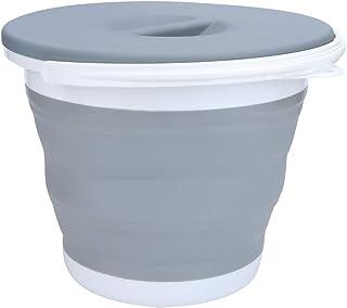 Seau pliable en plastique portable avec poignée et couvercle, pour nettoyage de voiture, pêche, camping, 25 x 20,5cm