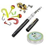 HappyOutdoor Portable Mini Telescopic Pen Fishing Rod Reel Combo Set 7 in 1