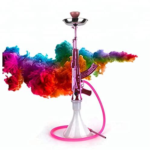 N\C Pipa de Vidrio con Forma de Pistola, cachimba, Juego de cachimba árabe, Tubo de una Manguera portátil, Adecuado para Fiestas, Regalos, Rosa