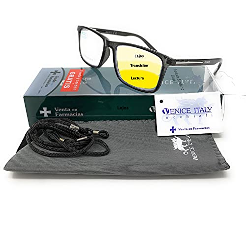 VENICE EYEWEAR OCCHIALI   Gafas de lectura multifocales progresivas, presbicia, vista cansada, Progresivo. Diseño en 5 Colores. VENICE MULTIFOCUS - Dioptrías: 1 a 3,5 (Gris, +2,00)