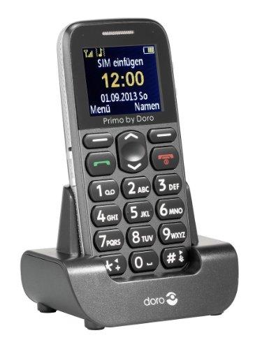 Primo 215 by Doro GSM Mobiltelefon mit Tischladestation (Notruftaste, Bluetooth, Taschenlampe) grau