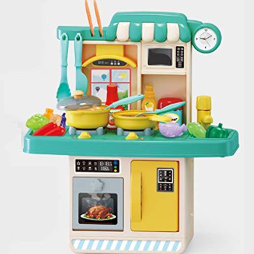 Juguete de Cocina para Niños Juguete Little Chef,con 23 Accesorios, Cocinita de Juguete de Regalo para Niños y Niñas de 3 Años y Más (Amarillo Claro),Verde