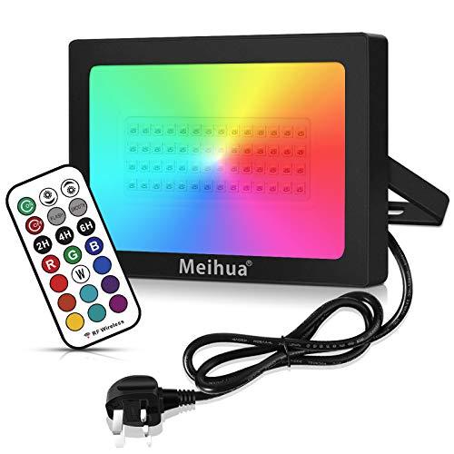 60W RGB Flood Lights Outdoor, MEIHUA 360° RF Remote Control Garden Lights...
