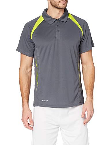 adidas Herren Spiro Team Spirit Polo Poloshirt, Grau (Grey/Lime 156), XXX-Large (Herstellergröße: 3XL)