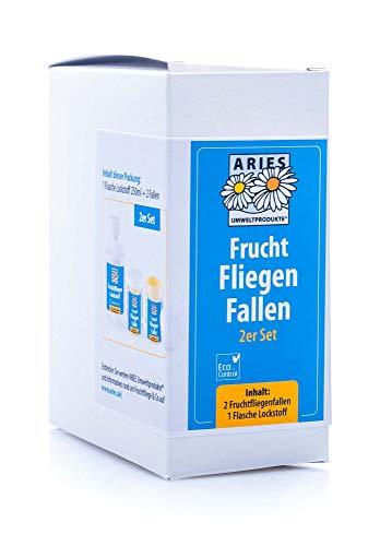 Aries Obstfliegenfallen-Set mit 2 Fruchtfliegenfallen und 250ml Lockstoff Köderflüssigkeit, Weiß, 200Ml + 2 Fallen