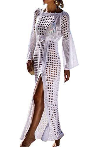 ZIYYOOHY Damen Sexy Strandkleid Stricken Spitze Maxikleid Sommerkleid Lace Bikini Kleid Strandponcho Mit Trompetenärmel (One Size, 7023 Weiß)