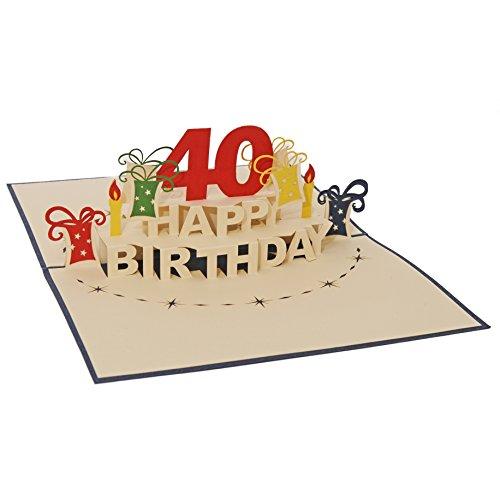 Favour Pop Up Glückwunschkarte zum runden 40. Geburtstag. Ein filigranes Kunstwerk, das sich beim Öffnen als Geburtstagstorte entfaltet. ALTA40B