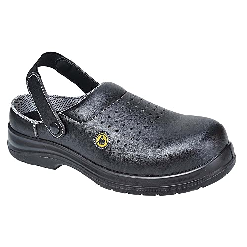 Portwest FC03BKR43 Sandalo di Sicurezza Traforato SB AE ESD in Composito, Nero, 43
