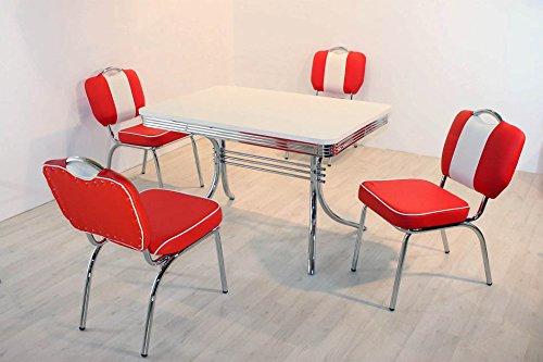 wendland-moebel.de Hausmarke Bistrogruppe American Diner Paul King6 5tlg in rot weiß