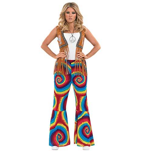 Fun Shack Regenbogenfarbige Hippie Schlaghose für Damen, 70er Jahre Kostüm - XXL