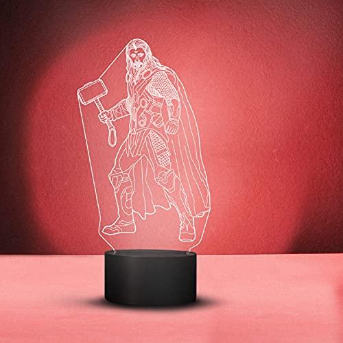 Lámpara LED 3D de Marvels Thor, cable USB, 6 colores cambiantes, de acrílico, con mando a distancia plano, interruptor táctil, luz nocturna, regalo para los fans de Marvel